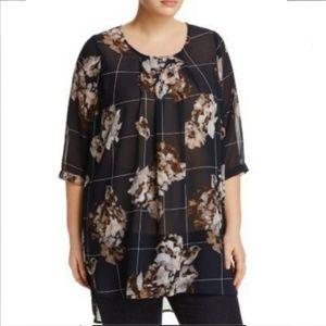 Junarose black floral sheer tunic top blouse 2X 20